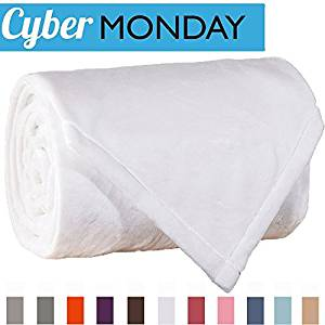 Sonoro Kate Fleece Blanket Soft Warm Fuzzy Plush King(104-Inch-by-90-Inch) Lightweight Cozy Bed Couch Blanket,Easy Care, White