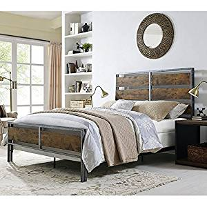 WE Furniture Queen Size Metal & Wood Plank Bed, Brown