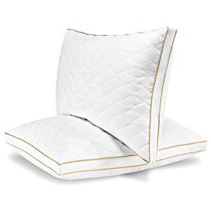 Italian Luxury Quilted Pillow (2-Pack) – Hotel Quality Plush Gel Fiber Filled Pillow