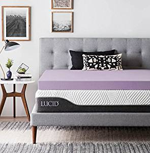 LUCID 4 Inch Lavender Infused Memory Foam Mattress Topper