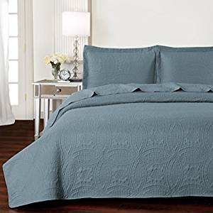 Mellanni Bedspread Coverlet Set Spa-Blue
