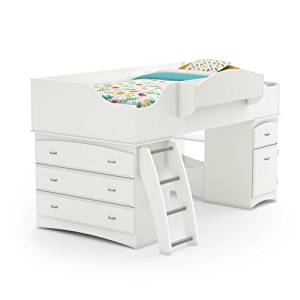 South Shore Imagine Collection Twin Loft Bed with Storage – Pure White by