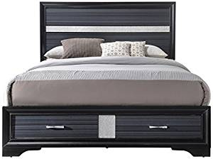 The ACME Naima Black Queen Bed with Storage
