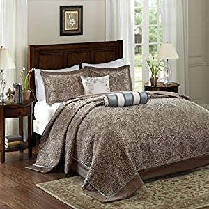 The Madison Park Aubrey King Size Quilt Bedding Set – Blue, Brown, Paisley Jacquard – 5 Piece Bedding Quilt Coverlets – Ultra Soft Microfiber Bed Quilts Quilted Coverlet