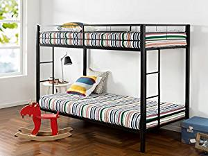 Easy Assembly Twin Over Twin Bunk Bed from Zinus with Dual Ladders