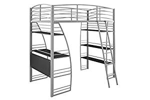 Loft Bunk Bed from DHP Studio, Bookcase and Over Desk with Metal Frame