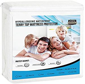 Premium Hypoallergenic Waterproof Mattress Protector from Utopia Bedding