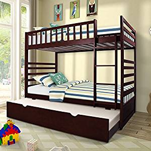 Twin Over Twin Bunk Bed from Merax with Trundle Solid Wood Bunk Bed, Espresso Finish