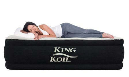 King Koil Twin Size Upgraded Luxury Raised Air Mattress Best Inflatable Airbed with Built-in Pump