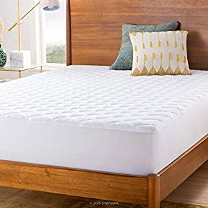 LINENSPA Waterproof Quilted Mattress Pad – Hypoallergenic Fill – Deep Pocket Fitted Skirt – Full