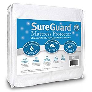 SureGuard Mattress Protectors Twin Size – 100% Waterproof, Hypoallergenic
