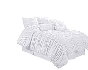 Chezmoi Collection 7-Piece Chic Ruched Comforter Set, Full, White