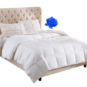 WhatsBedding 100% Cotton Down Comforter White Goose Duck Down and Feather Filling