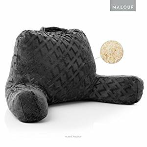 MALOUF Z Foam Filled Reading Pillow With Super-Soft Velour Cover- 3-year U.S. Warranty