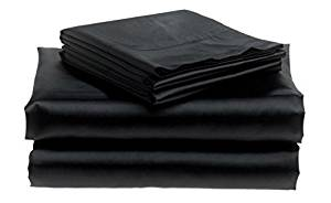 Bedding Emporium 100% Pure Silk Satin Sheet Set 7pcs, King, Black