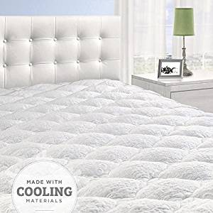 Cardinal & Crest Overfilled Cooling Pillow Top Mattress Pad with Fitted Skirt - Hypoallergenic Down Alternative Mattress Protector