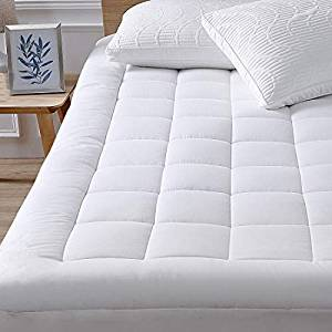 """Oaskys Queen Mattress Pad Cover Cotton Top with Stretches to 18"""" Deep Pocket Fits Up to 8""""-21"""" Cooling White Bed Topper (Down Alternative)"""