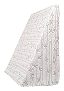 Superior Wedge Shaped Memory Foam Pillow with Removable Rayon from Bamboo and Microfiber Blend Cover