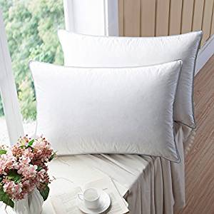 WENERSI Premium Goose Down Pillows with Feather Blended, (2-Pack, King Firm) 100% Cotton Shell with Ultra Fresh Treatment