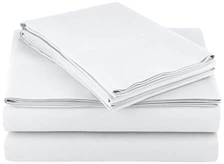 AmazonBasics Microfiber Sheet Set – King, Bright White, 4-Pack
