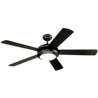 Comet 52-Inch Matte Black Indoor Ceiling Fan, Light Kit with Frosted Glass (52″ Black)