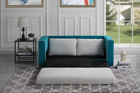 Divano Roma Furniture Modern 2 Tone ModularConvertible Sleeper (BlueBeige)