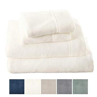 Extra Soft Cozy Velvet Plush Sheet Set from Great Bay Home. Deluxe Bed Sheets with Deep Pockets