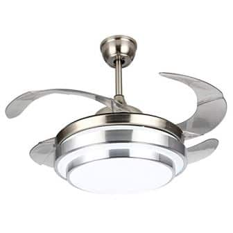 Fandian 42Inch Modern Ceiling Light with Fans Remote Control Retractable Blades for Living Room Bedroom Restaurant