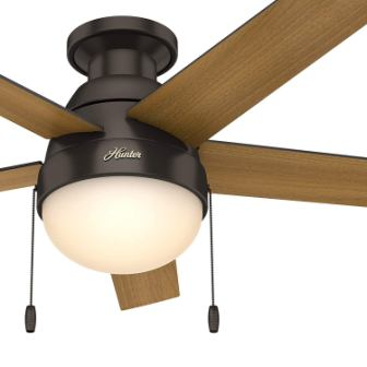 Hunter 46 in. Modern Low Profile Ceiling Fan with LED Light in Brushed Nickel (Certified Refurbished)