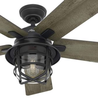 "Hunter Fan 54"" Weathered Zinc Outdoor Ceiling Fan with a Clear Glass LED Light Kit and Remote Control"