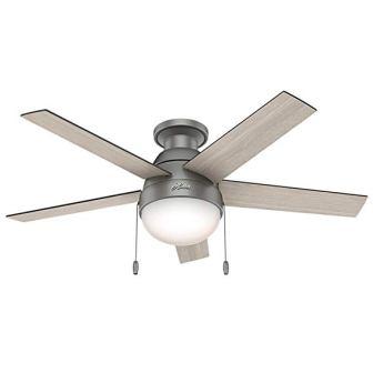 Hunter Fan Company 59270 Hunter 46″ Anslee Low Profile Matte Silver Ceiling Fan with Light, Black