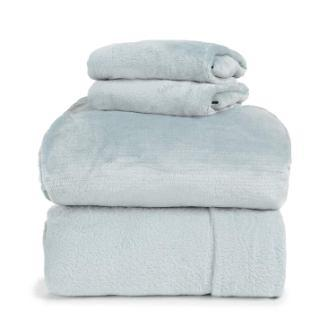 Insulated Warm Fleece Flannel Plush Sheet Set, Flat & Fitted Sheet (ICY Blue, Full), Pillow Case from Spyder