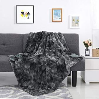 LANGRIA Luxury Super Soft Faux Fur Fleece Throw Blanket