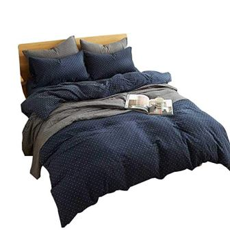 MKXI 3 Pieces Cross Printed Navy Queen Size Duvet Cover Set
