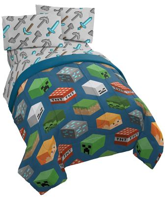Minecraft Isometric 4 Piece Bed Set from Jay Franco, Includes Reversible Comforter & Sheet Set