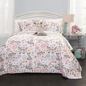 Pixie Fox Quilt Reversible 3 Piece Bedding Set from Lush Décor