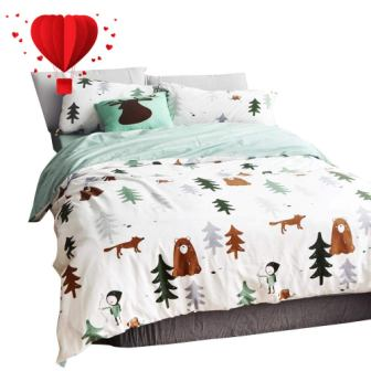 Siberia Forest Theme Boys Duvet Cover, Cotton, Darker, Cartoon Duvet Cover Set from BuLuTu