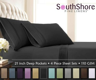 Southshore Fine Linens – 5 Piece – Extra Deep Pocket Pleated Sheet Set, Split King, Black