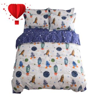 Space Rocket Print Cotton Boys Duvet Cover Sets from BuLuTu