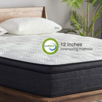 Sweetnight 12-Inch Plush Pillow-Top Hybrid Mattress with Gel Memory Foam