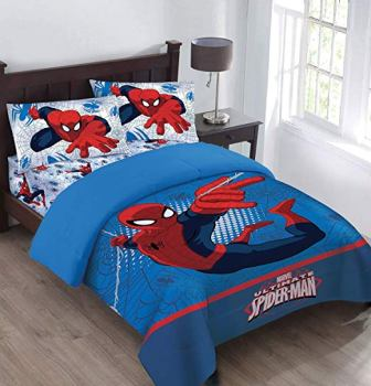 The Spiderman Webbed Wonder Comforter Set with Fitted Sheet from Marvel