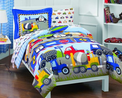 Trucks Tractors Cars Boys 5-Piece Comforter Sheet Set from Dream Factory