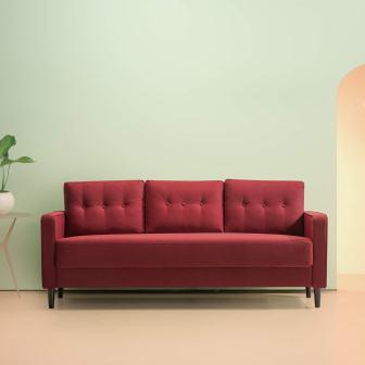 Zinus Mikhail Mid-Century Upholstered 76.4 Inch Sofa Living Room Couch, Ruby Red Weave