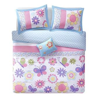 appy Daisy Kid Comforter Set from Comfort Spaces, 4 Piece, Butterfly & Floral