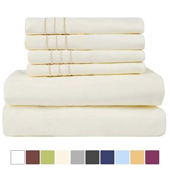 EASELAND 1800 Thread Count Microfiber Bed Sheet Set
