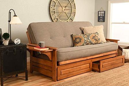 Kodiak Furniture Phoenix Futon Set with Linen Stone Mattress and Storage Drawers