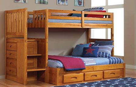Mission Twin Over Full Staircase Bed with Twin Trundle from Discovery World Furniture