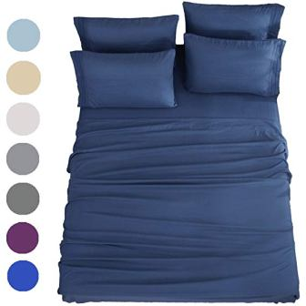 SONORO KATE Bed Sheets Set – 6 Piece (Queen, Navy Blue)