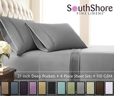 Southshore Fine Linens – 4 Piece – Extra Deep Pocket Pleated Sheet Set