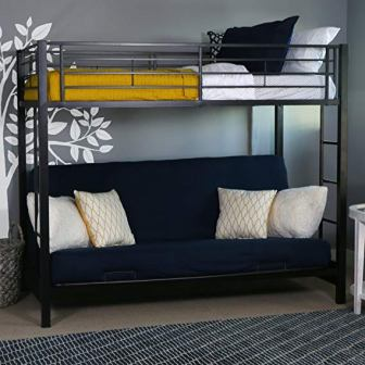 Twin-Over-Futon Metal Bunk Bed from Walker Edison